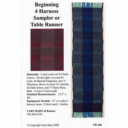 WP YB 106 beginning 4 harness sampler pattern leaflet yarn barn of kansas
