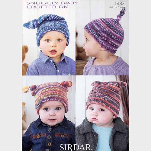Sirdar Pattern 1482 Childs Knotted Top Stocking Cap Yarn Barn Of Kansas